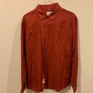 Like new Frank & Oak rust linen button down shirt